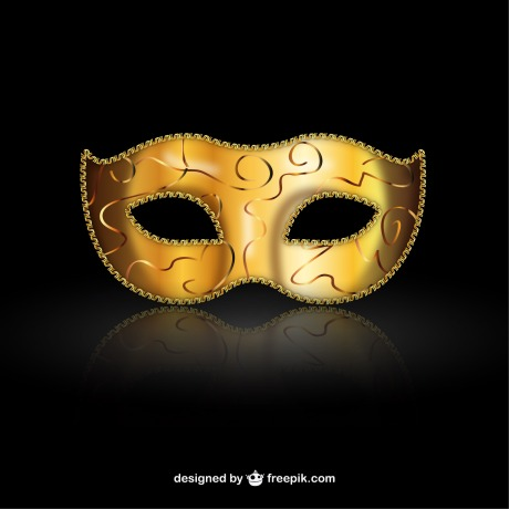 Gold mask on black background