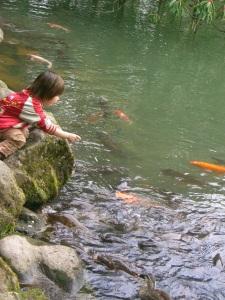 Kenrokuen child with carp